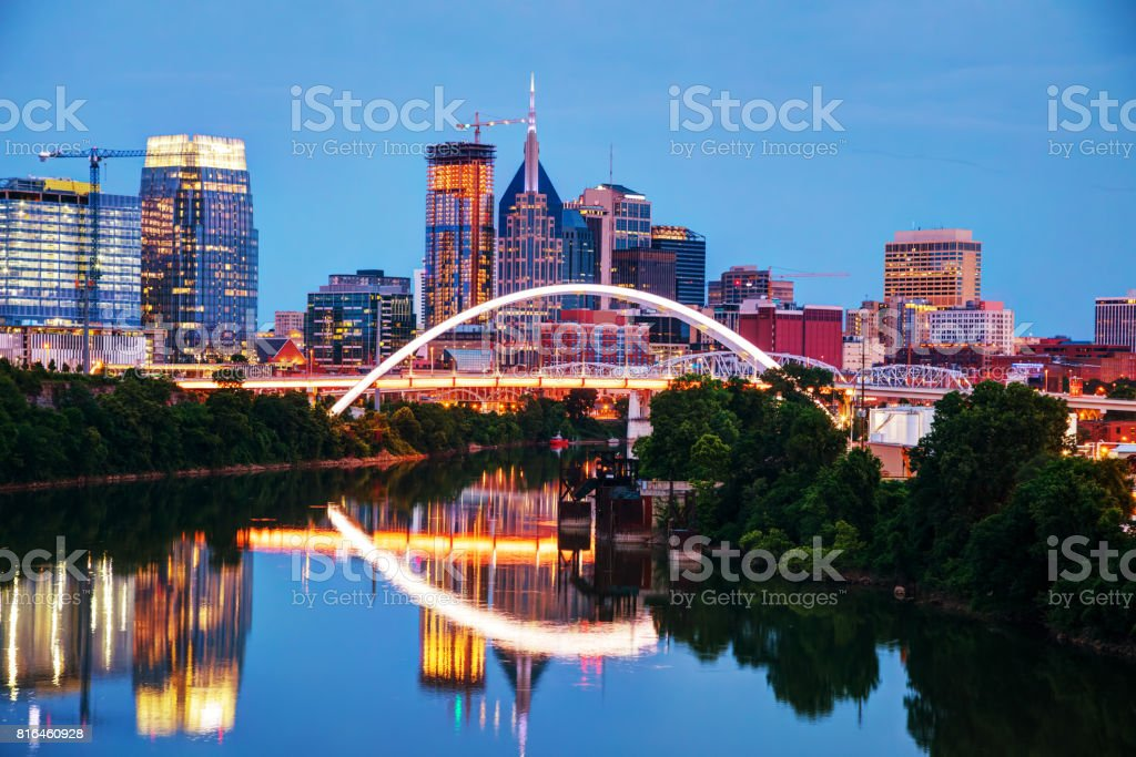 Downtown Nashville cityscape at night stock photo