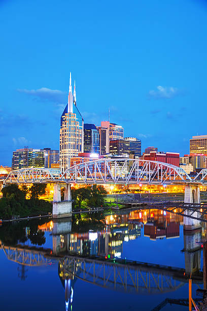 Downtown Nashville cityscape in the evening stock photo