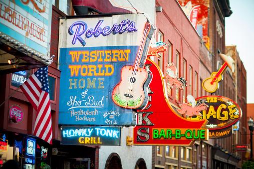 Downtown Nashville Music Entertainment Establishments Stock Photo - Download Image Now