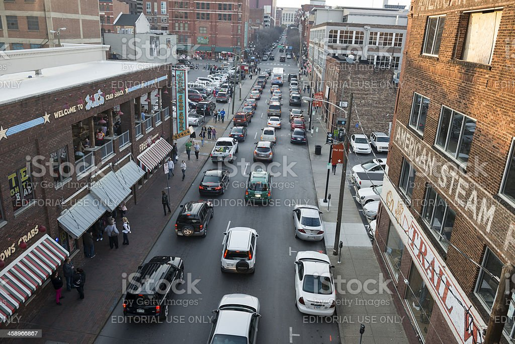 Downtown Nashville traffic and buildings royalty-free stock photo