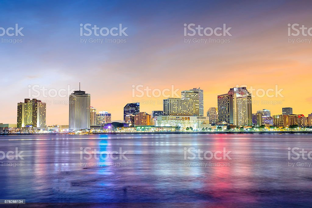 Downtown New Orleans, Louisiana and the Mississippi River stock photo