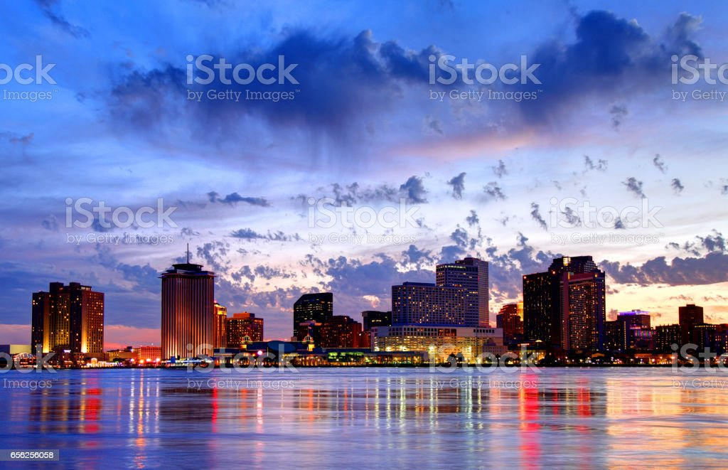 Downtown New Orleans Louisiana skyline along the Mississippi River stock photo