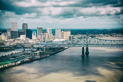 The downtown area of New Orleans, Louisiana shot from an altitude of about 700 feet during a helicopter photo flight.