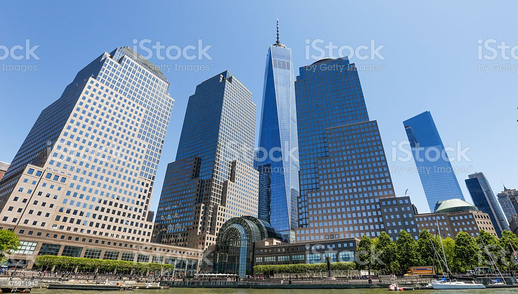 Downtown New York City and the Freedom Tower stock photo