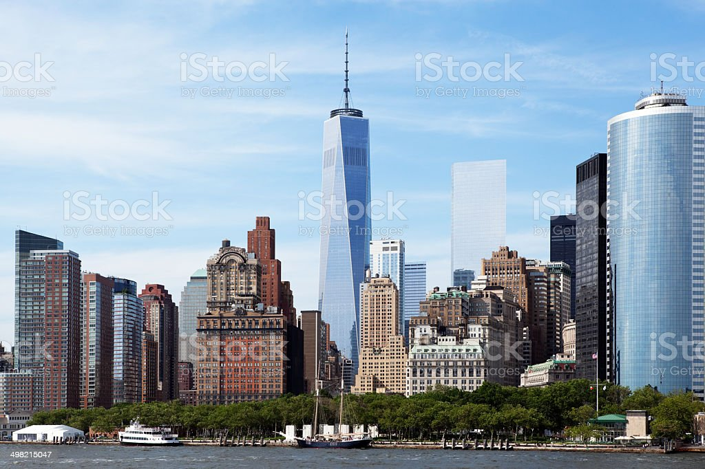 Downtown New York City, Lower Manhattan and World Trade Center royalty-free stock photo