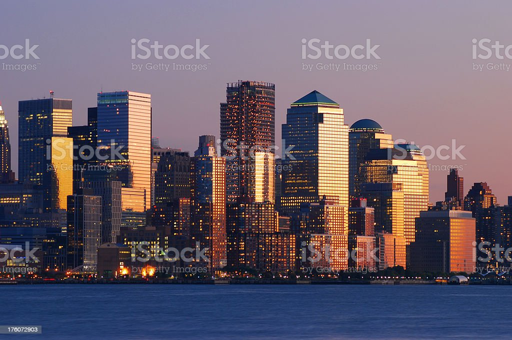 Downtown New York City skyline at sunset royalty-free stock photo