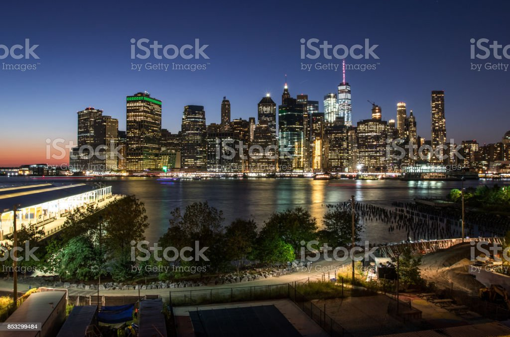 Downtown New York from Brooklyn Height Promenade stock photo