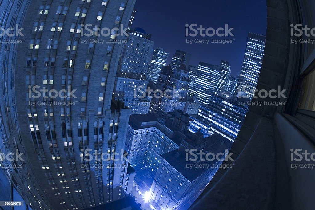 Downtown Night in New York City royalty-free stock photo