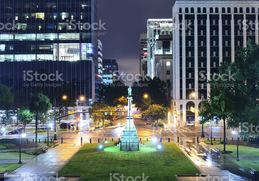 Downtown night scene of Columbia, SC stock photo
