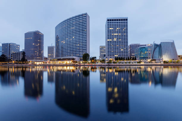 Downtown Oakland and Lake Merritt Reflections at Twilight. stock photo