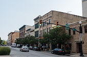 Lafayette, Indiana / USA: Downtown of a small mid-western town in Indiana  in the summer at dusk