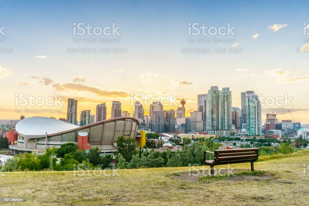 Downtown of Calgary at sunset during summertime, Alberta, Canada stock photo