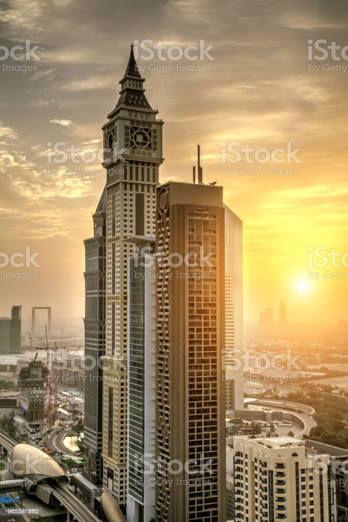 Downtown of Dubai city with skyscrapers at sunrise royalty-free stock photo