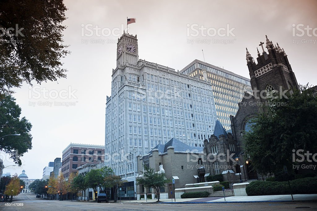 Downtown of Jackson, Mississippi stock photo