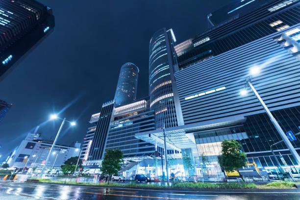 Zentrum der Stadt Nagoya, Japan in der Nacht – Foto