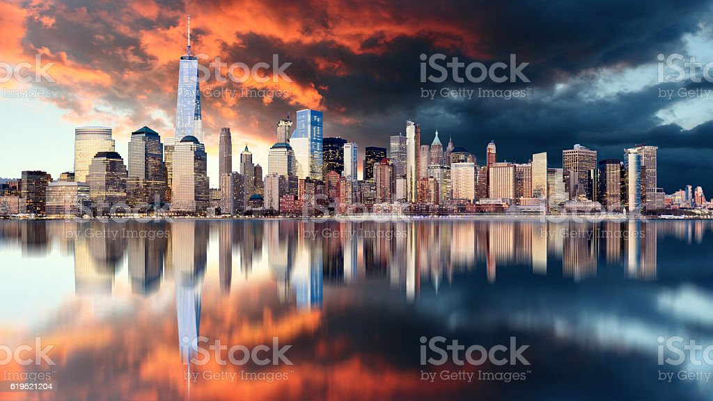 Downtown of New York City, USA stock photo