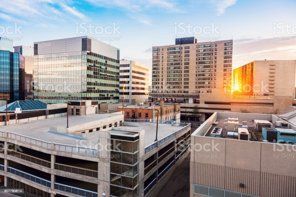 Downtown of Regina at sunset stock photo