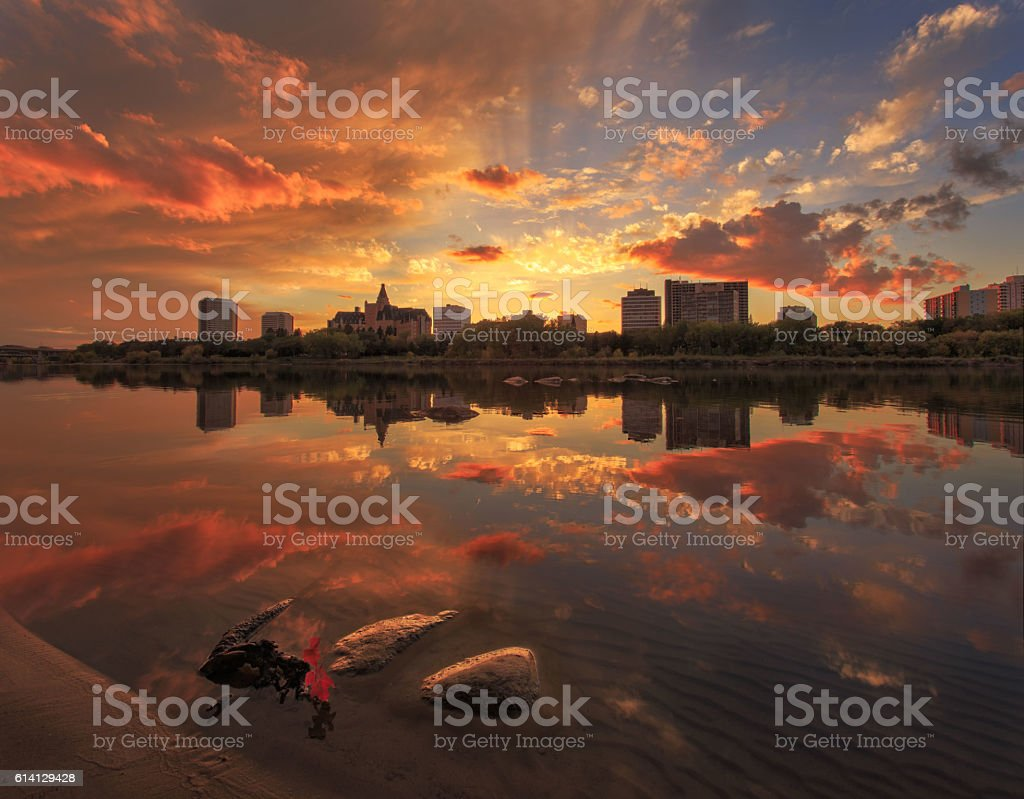 Downtown of Saskatoon stock photo