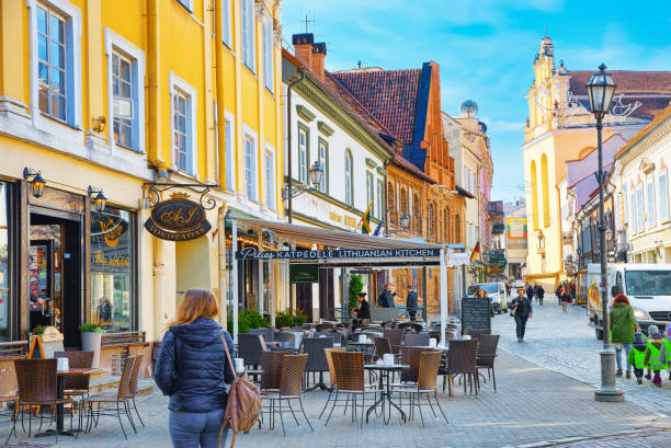 Downtown of the city, on Pilies street in the historic part of the old city of Vilnus. Lithuania. stock photo