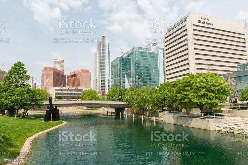 Downtown Omaha Nebraska Cityscape Buildings View Gene Leahy Mall stock photo