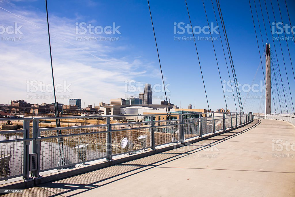 Downtown Omaha on the Bridge stock photo