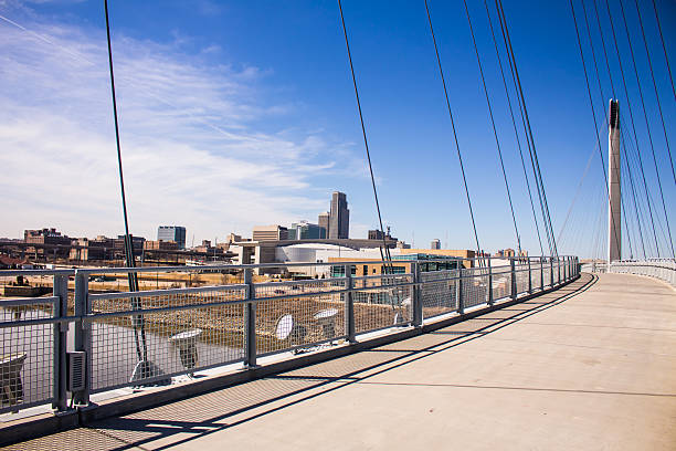 Downtown Omaha on the Bridge Downtown Omaha from the pedestrian bridge footbridge stock pictures, royalty-free photos & images