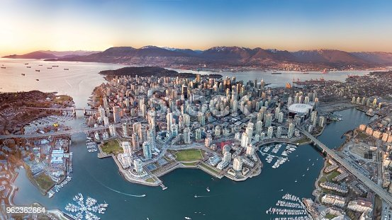 A panoramic drone view of Vancouver downtown.