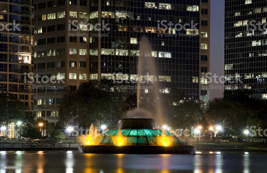 Downtown Orlando Florida Lago Eola Fontana foto stock royalty-free