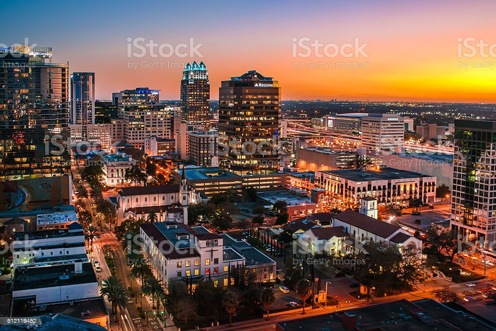 Downtown Orlando, Florida Skyline at Sunset stock photo