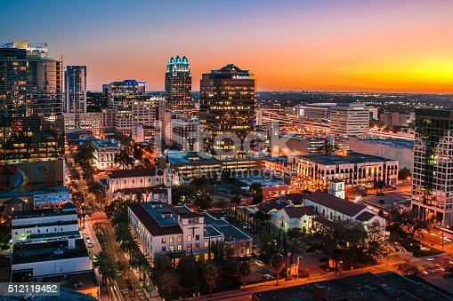 downtown orlando florida skyline at sunset stock photo more pictures of blue istock. Black Bedroom Furniture Sets. Home Design Ideas