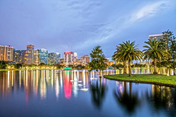 Downtown Orlando from Lake Eola Park at Dusk stock photo