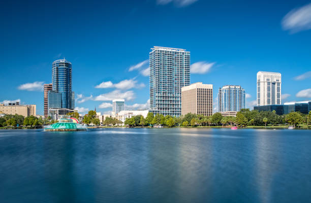 Downtown Orlando from Lake Eola Park on a beautiful sunny Day stock photo