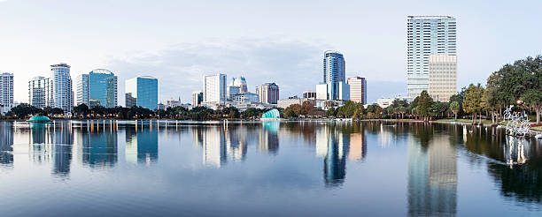 downtown orlando from lake eola - orlando florida photos stock photos and pictures