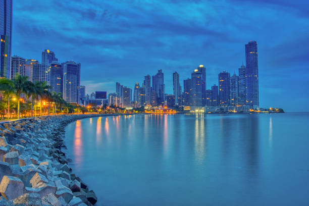 Downtown Panama City in the Morning From Cinta Costera Highway on the Pacific Ocean in Central America stock photo