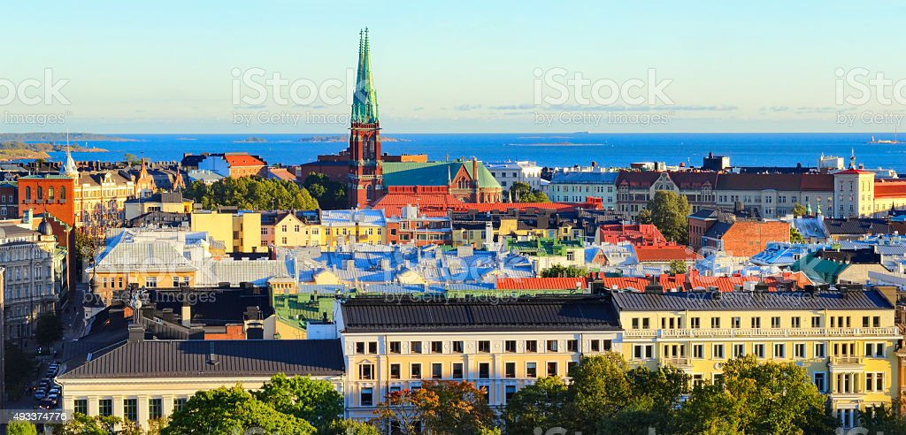 Downtown Panorama of Helsinki Finland and Baltic Sea stock photo