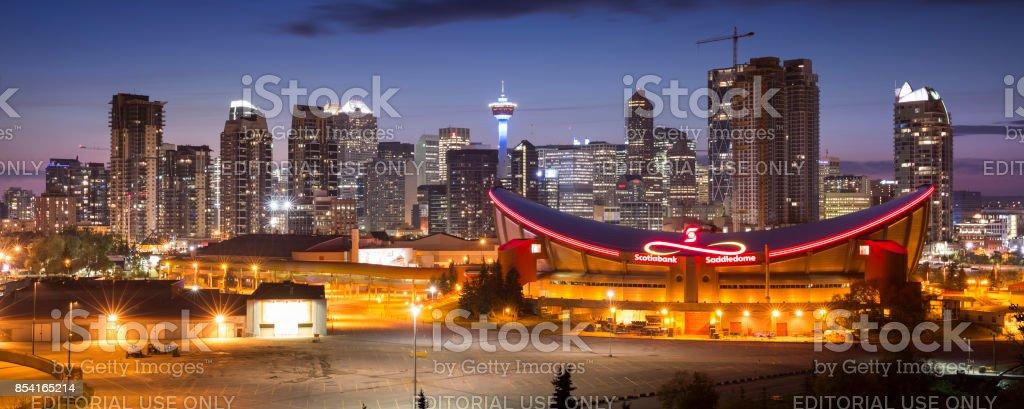 Downtown panorama skyline Calgary Alberta Canada stock photo