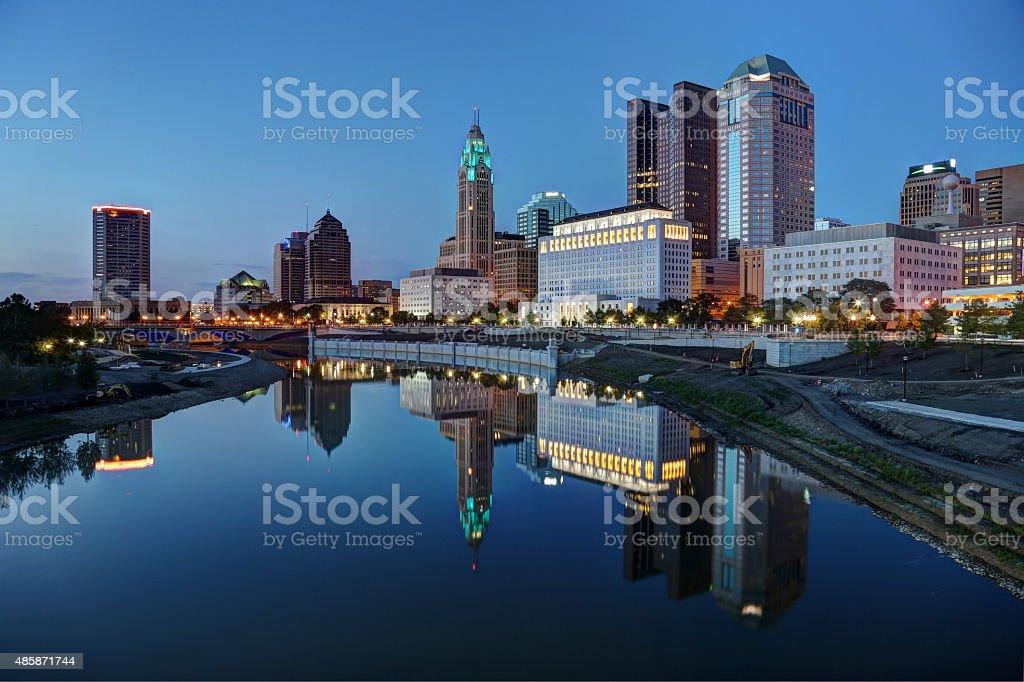 downtown panoramic scene at dusk stock photo