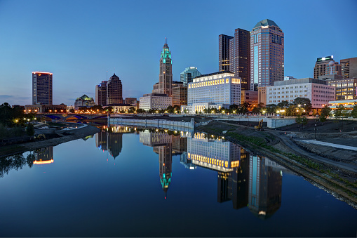Downtown Panoramic Scene At Dusk Stock Photo - Download Image Now