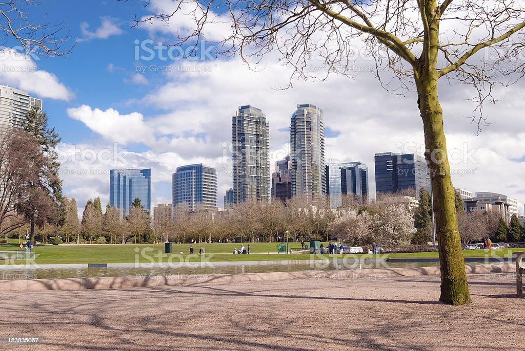 시내 공원에서 벨뷰, 워싱턴, 녹색 잔디 스톡 사진