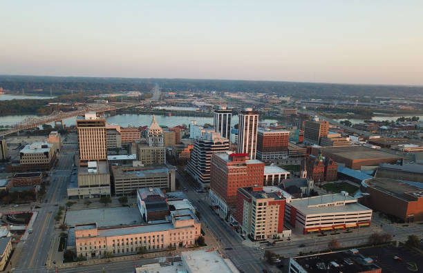 Downtown Peoria, IL Aerial stock photo