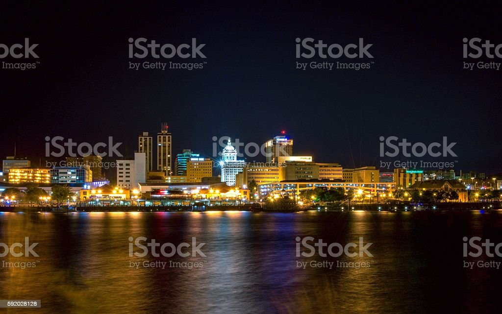 Downtown Peoria Skyline, Illinois. stock photo