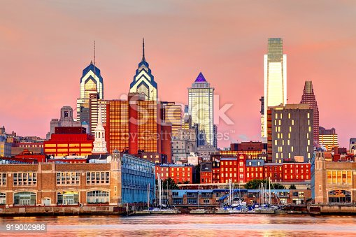Philadelphia skyline as seen from across the Delaware river. Philadelphia is the largest city in the Commonwealth of Pennsylvania and the fifth-most-populous city in the United States