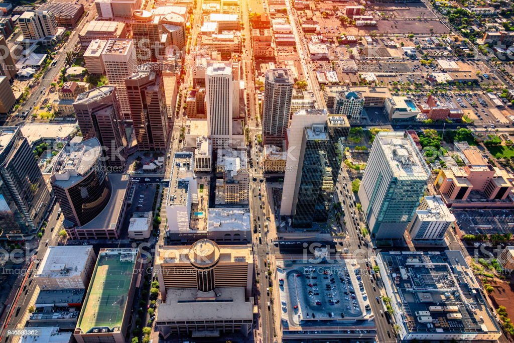 Downtown Phoenix Aerial View stock photo