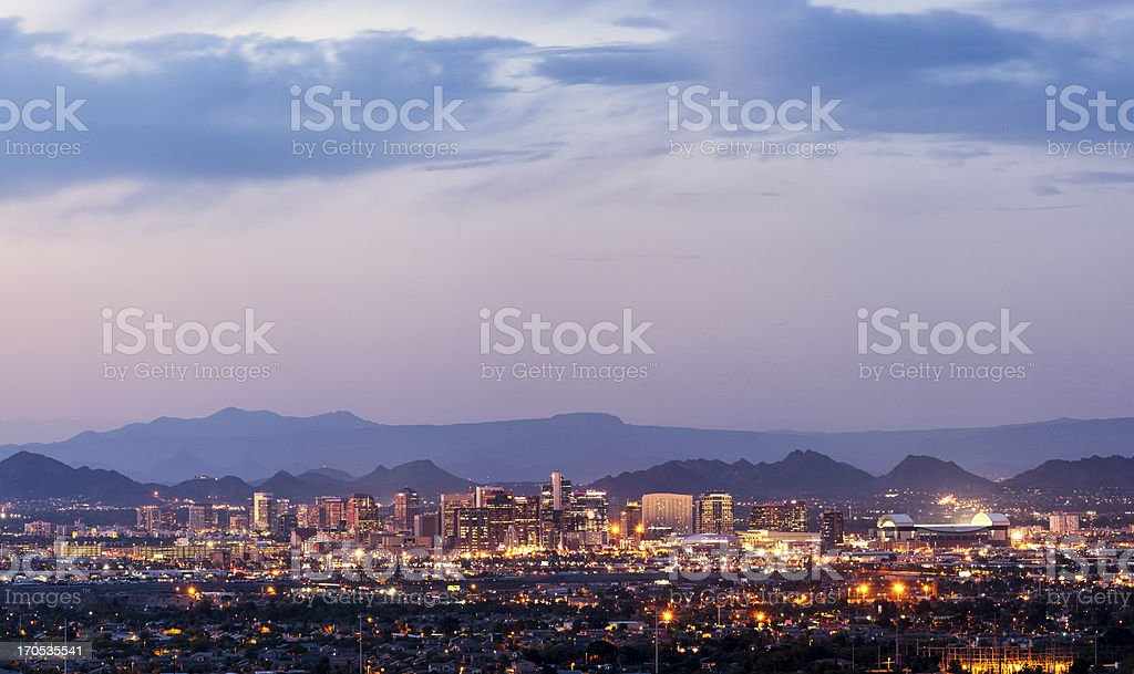 Downtown Phoenix, Arizona dusk panorama stock photo