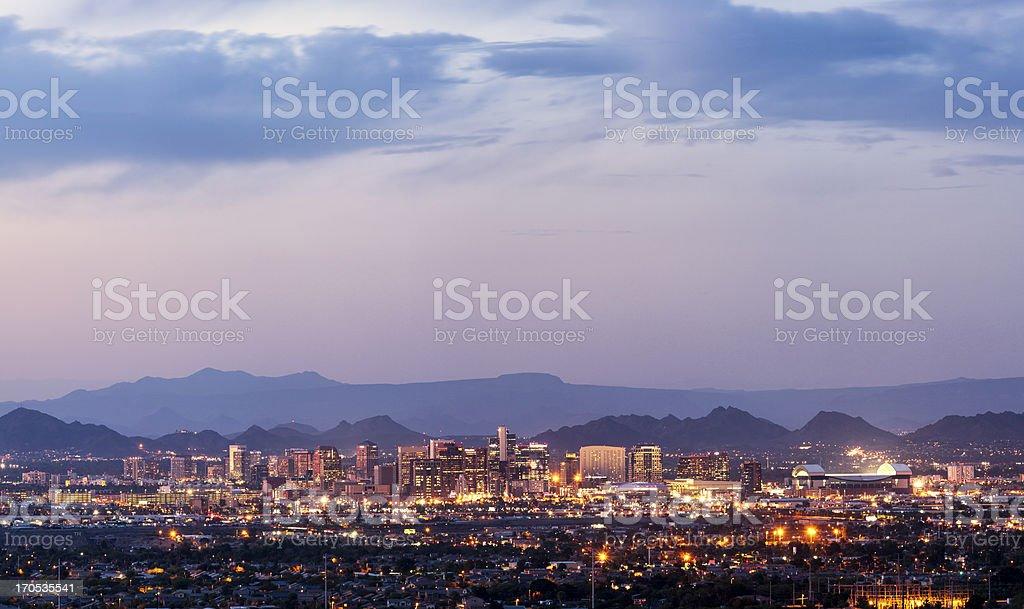 Downtown Phoenix, Arizona dusk panorama stock photo