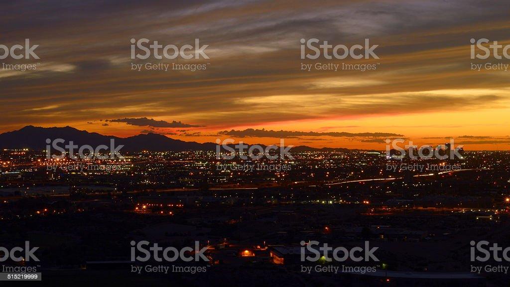Downtown Phoenix at dusk stock photo