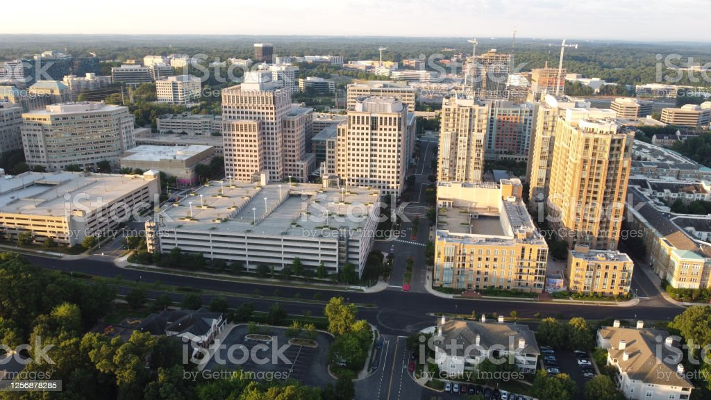 Downtown Arial downtown view. Aerial View Stock Photo