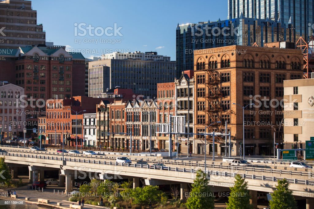 Downtown Pittsburgh over Allegheny River Pennsylvania USA stock photo