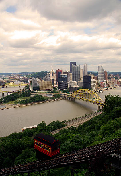 Downtown Pittsburgh Downtown Pittsburgh form the Duquense Incline. Shot right before a Thunderstorm. pittsburgh bridge stock pictures, royalty-free photos & images