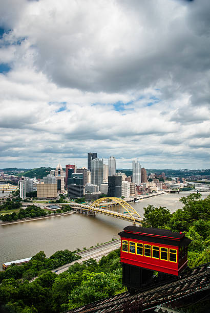 Downtown Pittsburgh Downtown Pittsburgh from the Duquense Incline. Shot right before a Thunderstorm. pittsburgh bridge stock pictures, royalty-free photos & images